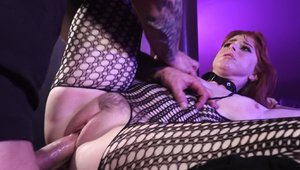 Busty pornstar Penny Pax wishes for doggy sex wearing fishnets