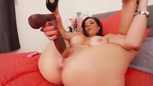 Big tits female Sara Jay playing with toys