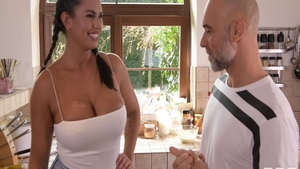 Huge tits Chloe Amour blowjobs in the kitchen