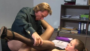 Rough nailing big butt german girl in shorts in office