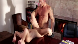 Sara Luvv together with Marcus London raw handjob on the table