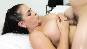 Large boobs brunette fucked in the butt