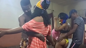 Wet african teen needs hardcore orgy at the party