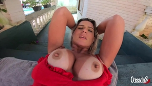 Sweet brazilian supermodel cumshot outdoors